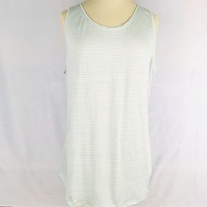 Tank top sleeveless shirt light blue tan stripes